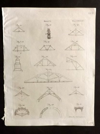 Encyclopedia Britannica 1801 Antique Print. Roofs 464